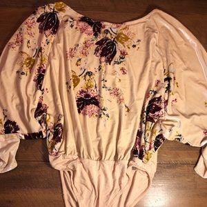 Free People velvet floral body suit